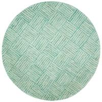 Safavieh Handmade Nantucket Abstract Green/ Multi Cotton Rug - 6' Round