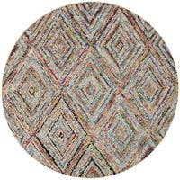 Safavieh Handmade Nantucket Modern Abstract Multicolored Cotton Rug - multi - 6' Round
