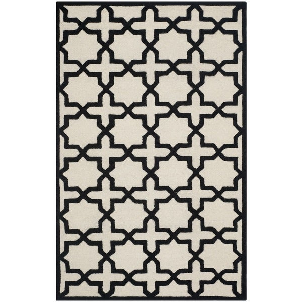 Safavieh Handmade Moroccan Cambridge Ivory/ Black Wool Rug - 5' x 8'