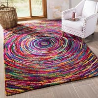Safavieh Handmade Nantucket Modern Abstract Multicolored Cotton Rug - 4' x 4'