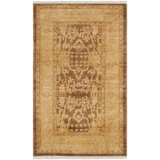 Safavieh Hand-knotted Peshawar Vegetable Dye Brown/ Olive Wool Rug (3' x 5')