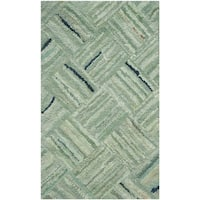 Safavieh Handmade Nantucket Abstract Green/ Multi Cotton Runner Rug - 2'3 x 5'