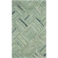 Safavieh Handmade Nantucket Abstract Green/ Multi Cotton Runner Rug (2' 3 x 5') - 2'3 x 5'