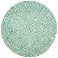 Safavieh Handmade Nantucket Abstract Green/ Multi Cotton Rug - 4' Round