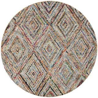Safavieh Handmade Nantucket Modern Abstract Multicolored Cotton Rug (4' x 4' Round)