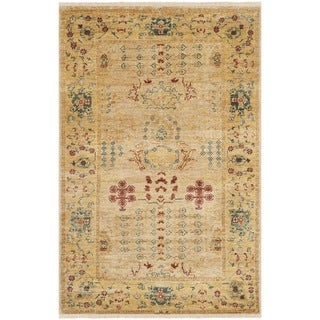 Safavieh Hand-knotted Peshawar Vegetable Dye Ivory/ Gold Wool Rug (3' x 5')