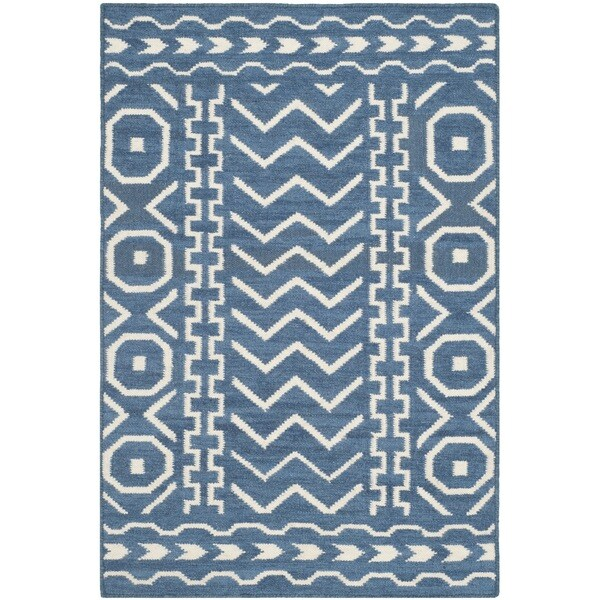 Safavieh Moroccan Blue And Black Area Rug: Safavieh Hand-woven Moroccan Reversible Dhurries Dark Blue
