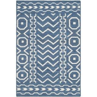 Safavieh Hand-woven Moroccan Reversible Dhurries Dark Blue/ Ivory Wool Rug (2'6 x 4')