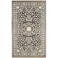 Safavieh Hand-knotted Ganges River Black/ Ivory Wool Rug - 3' x 5'