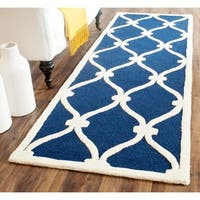 "Safavieh Handmade Moroccan Cambridge Navy/ Ivory Wool Rug - 2'6"" x 10'"