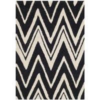 Safavieh Handmade Moroccan Cambridge Black/ Ivory Wool Rug - 2' x 3'