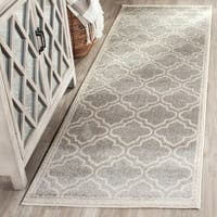 Safavieh Amherst Indoor/ Outdoor Light Grey/ Ivory Rug - 2'3 x 7'