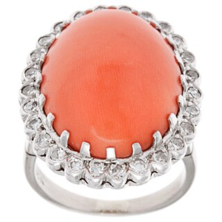 Pre-owned 18k White Gold 1/2ct TDW Coral Cocktail Ring (I-J, SI1-SI2)