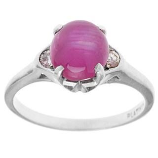 Pre-owned Platinum 1/10ct TDW Diamond and Ruby Estate Ring (H-I, VS1-VS2)