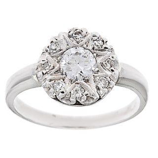 Pre-owned Platinum 3/4ct TDW Diamond Estate Antique Engagement Ring (G-H, VS1-VS2)