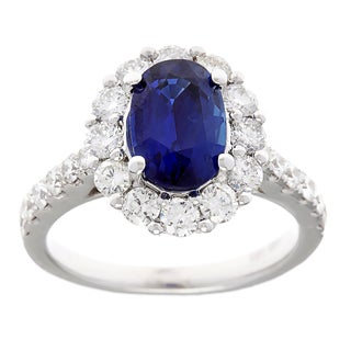Pre-owned 14k White Gold 1 1/4ct TDW Diamond and Blue Sapphire Estate Ballerina Ring (G-H, SI1-SI2)