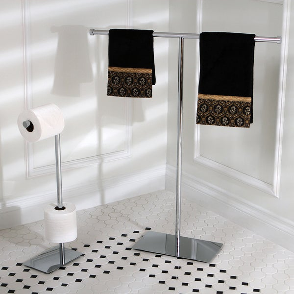 Modern freestanding polished chrome bathroom accessories for Bathroom accessories stand