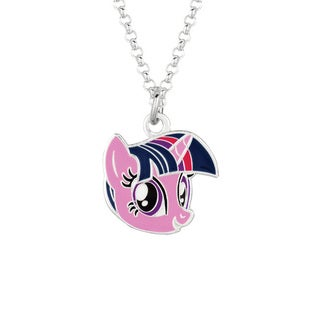 Fine Silvertone Twilight Sparkle Face My Little Pony Pendant Necklace