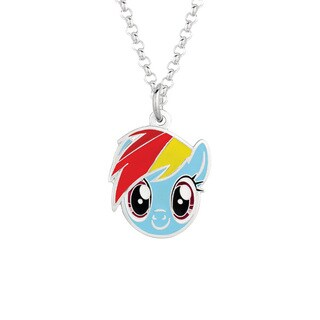 Fine Silvertone Rainbow Dash Face My Little Pony Pendant Necklace