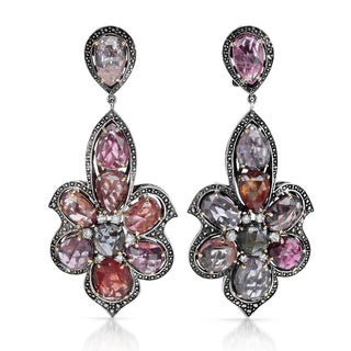 Contessa 18k Yellow Gold and Sterling Silver, Pink Spinel, 5/8ct TDW Diamond Earrings (G-H, I2-I3)