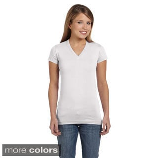Junior Fine Jersey V-Neck Longer Length T-Shirt