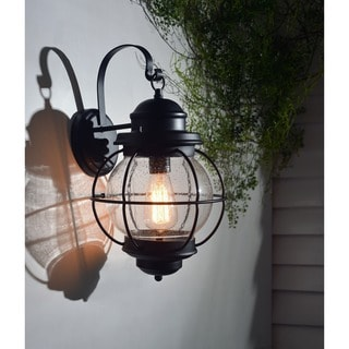 Elton Large 1-light Black Outdoor Wall Lantern