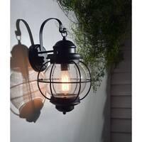 Elton Large 1-light Black Outdoor Wall Lantern