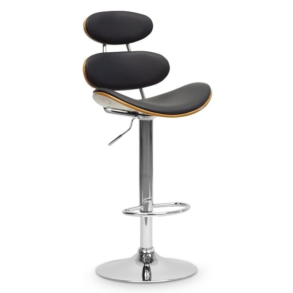 Modern Brown and Black 24-32  Adjustable Bar Stool by Baxton Studio  sc 1 st  Overstock.com & Modern Brown and Black 24-32