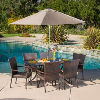 littleton rectangular outdoor cast and wicker 7 piece set by christopher knight home - Patio Table With Umbrella