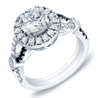 14k White Gold 1 3/5 ct TDW Split Shank Diamond Halo Engagement Ring by Auriya