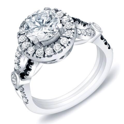 Auriya 14k Gold 1 3/5ctw Modern Halo Diamond Engagement Ring