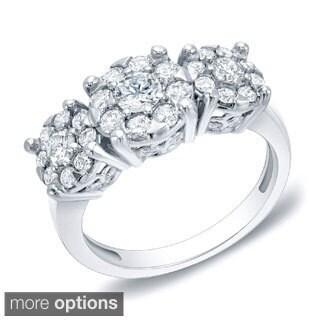 Auriya 14k Gold 1ct TDW Multi-stone Diamond Anniversary Ring