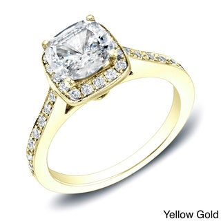 Auriya 14k Gold 2ct TDW Certified Cushion-Cut Diamond Halo Engagement Ring