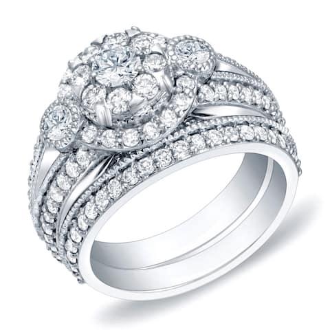 Auriya 1 3/4ctw Vintage Halo Diamond Engagement Ring Set 14k Gold
