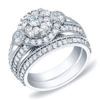 Auriya 14k Gold 1 3/4ct TDW Vintage 3-Stone Round Diamond Halo Engagement Ring Bridal Set