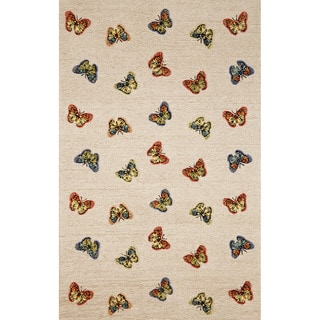Grace Natural Butterfly Print Outdoor Rug (3'6 x 5'6)
