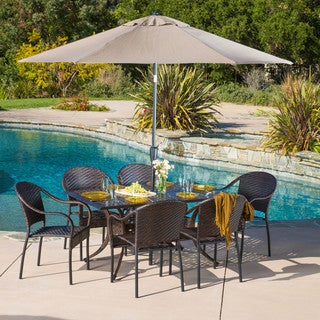 Sunset Rectangular Outdoor Cast and Wicker 7-piece Set by Christopher Knight Home