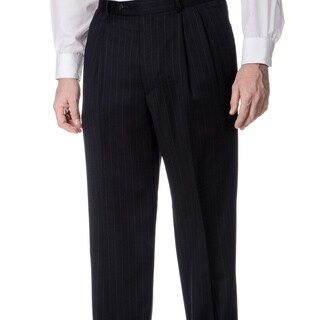 Palm Beach Men's Navy Pleated Trousers (Option: 35r)