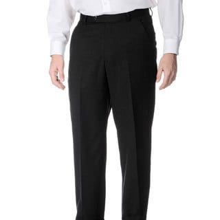 Palm Beach Men's Charcoal Wool Flat-front Trousers