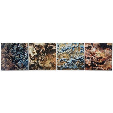 Earth Tones Metal Wall Art 'Mother Earth' Abstract Metal Artwork - 12 x 50