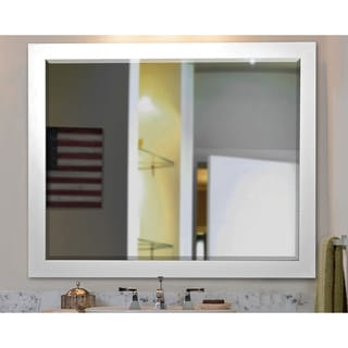 American Made Rayne Wide Satin White Wall Mirror