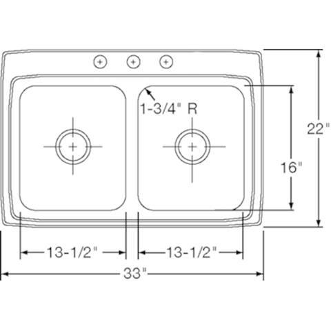 Elkay LR33223 Gourmet Lustertone Stainless Steel Double-bowl Top-mount Sink
