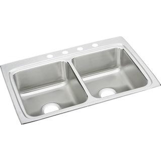 Elkay LR33224 Gourmet Lustertone Stainless Steel Double-bowl Top-mount Sink
