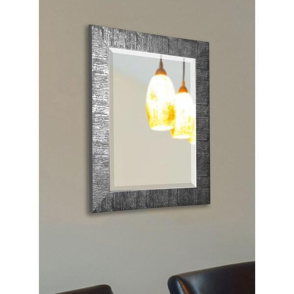 American Made Safari Silvertone Textured Wall/ Vanity Mirror - silver/black