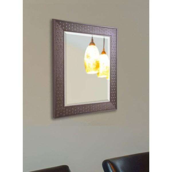 American Made Rayne Espresso Bricks Rectangular Vanity Wall Mirror
