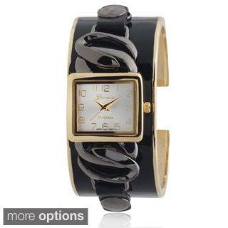 Geneva Platinum Chain Accent Cuff Watch