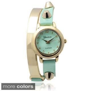 Geneva Platinum Studded Faux Leather Wrap Watch (Option: Orange)|https://ak1.ostkcdn.com/images/products/8893277/Geneva-Platinum-Studded-Faux-Leather-Wrap-Watch-P16114380.jpg?impolicy=medium