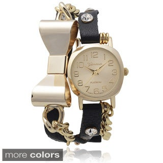 Geneva Platinum Rhinestone Accent Bow Detail Wrap Watch