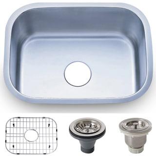 23.5-inch Stainless Steel 18 gauge Undermount Single Bowl Kitchen Sink Basket