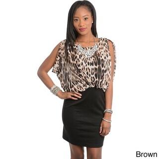 Stanzino Women's Animal Print Blouson Dress